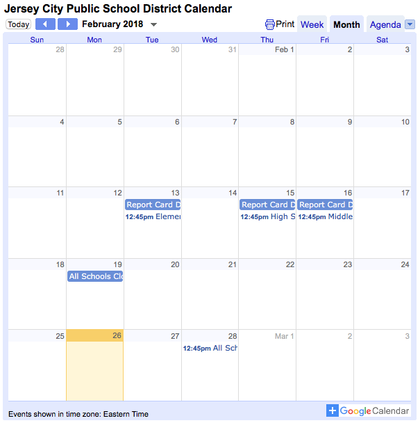 Jersey City District Calendar Screenshot