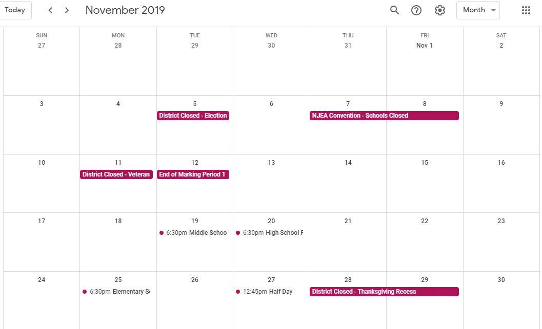 JerseyCityEd Google Calendar Snapshot